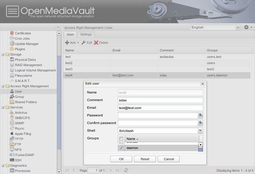 OpenMediaVault hat eine Benutzer- und Freigabenverwaltung. Bild: openmediavault.org