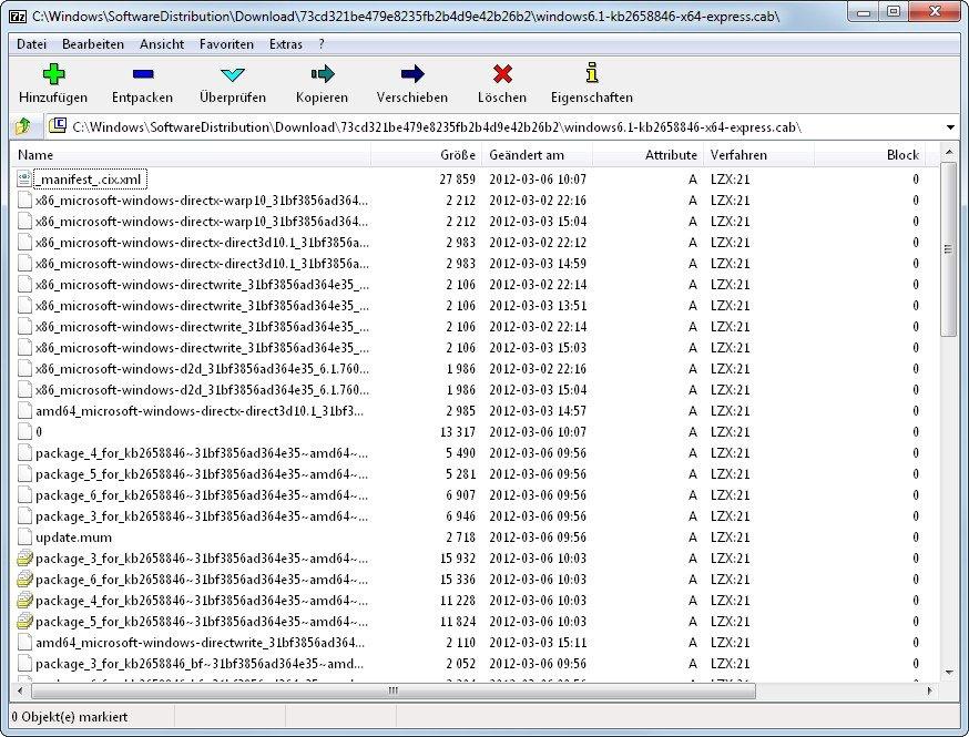 Packprogramme wie 7-Zip können eine CAB-Datei öffnen