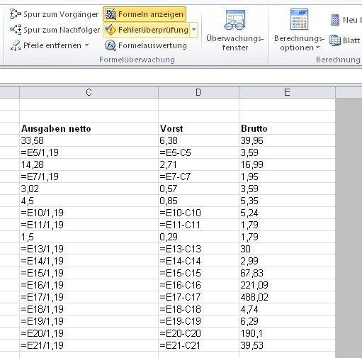 Mit einem Button können wir bei Excel 2010 Formeln anzeigen