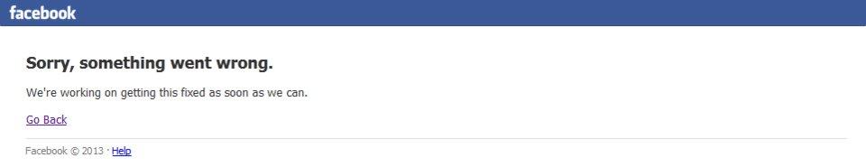Something went wrong: Wenn die Meldung angezeigt wird, ist Facebook down.