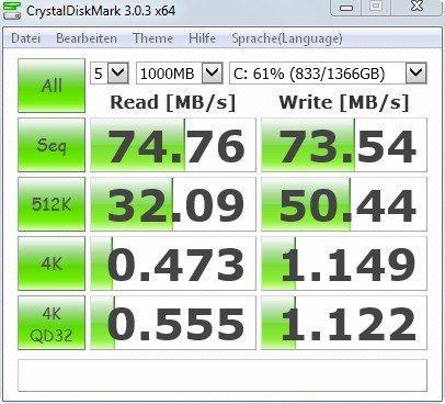 Der Festplatten Benchmark von CrystalDisk aus Japan ist einfach, aber aussagekräftig
