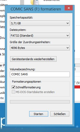 Formatierungs-Dialog unter Windows.