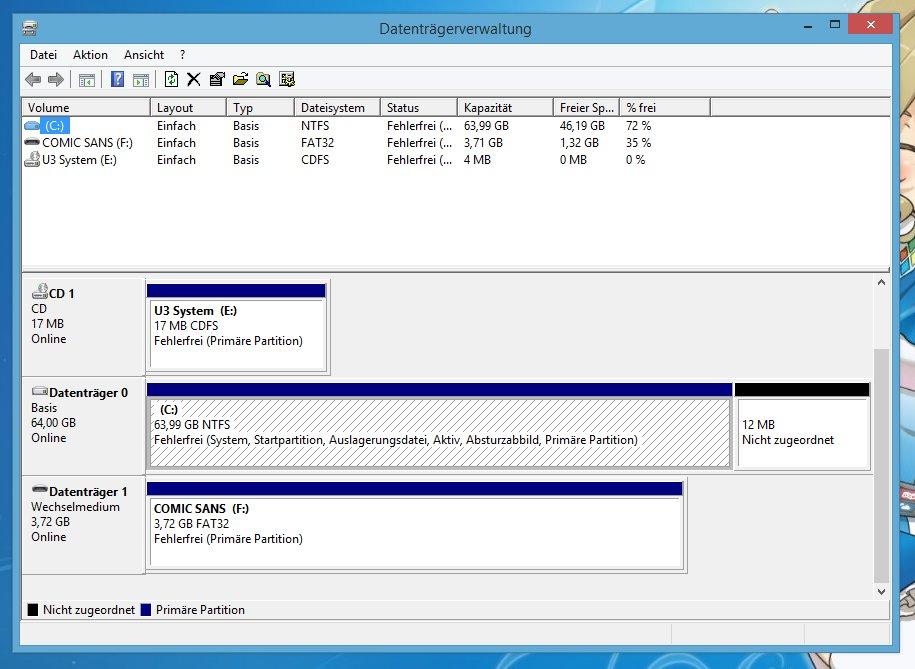 """Die Datenträgerverwaltung zeigt auch """"versteckte"""" Festplatten an."""