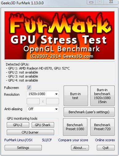 FurMark kann die Grafikkarte testen, die Temperatur feststellen und einen Benchmark ausgeben