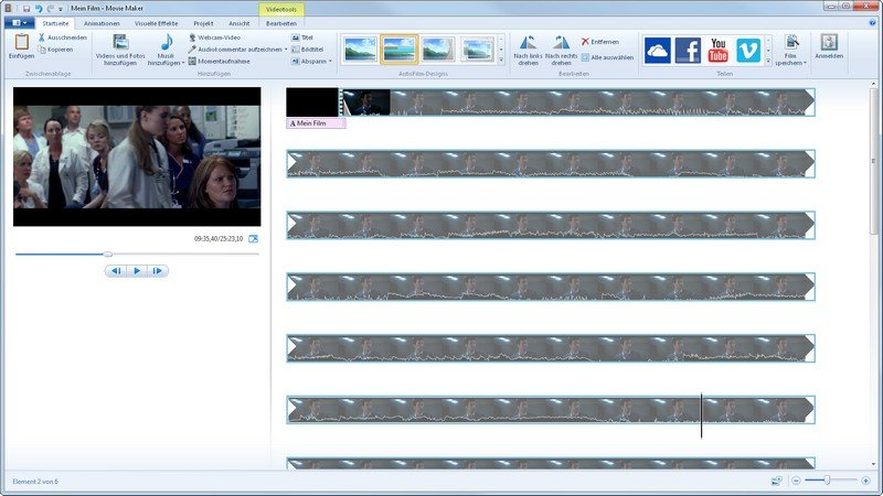 Eine Art iMovie für Windows und das kostenlos: Windows Movie Maker