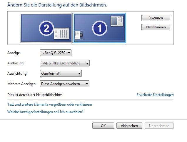 Ich arbeite an einem PC mit zwei Bildschirmen. Ähnlich funktioniert die Einstellung bei Laptops mit externen Bildschirmen.