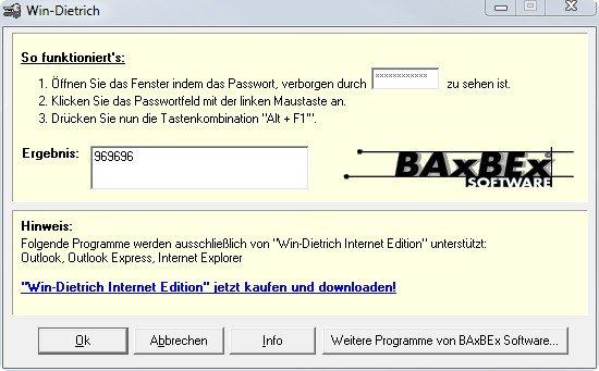 Win-Dietrich kann ein Passwort sichtbar machen und zeigt es im Klartext an