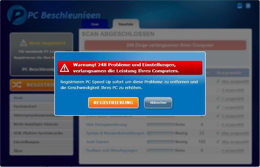 Mit schwachsinnigen Alarm-Meldungen will PC Speed Up den User zum Kauf terrorisieren