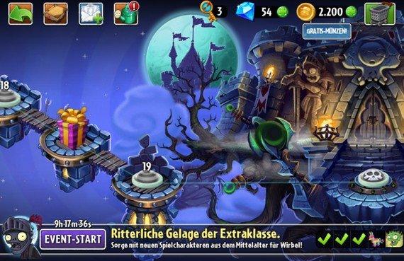 Plants vs. Zombies 2: Welt 5 ist komplett - das finstere Mittelalter (Update)