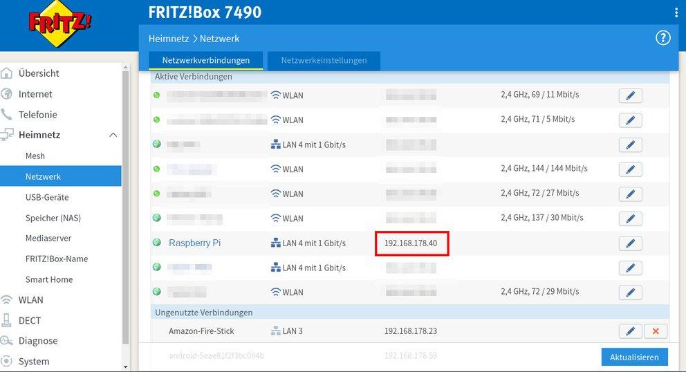 Router-Einstellungen: Ihr braucht die IP-Adresse des Raspberry Pi, um euch in OpenMediaVault einzuloggen. Bild: GIGA