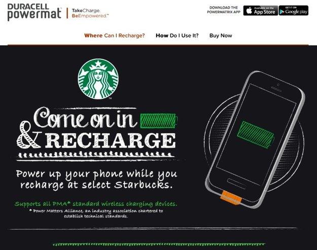 Starbucks bietet drahtloses Aufladen in Kooperation mit Duracell