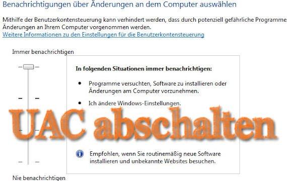 UAC abschalten: Die Benutzerkontensteuerung deaktivieren