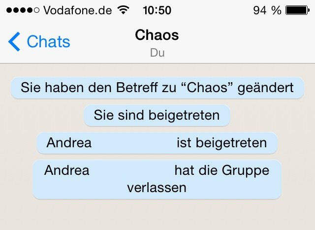 Der Admin einer WhatsApp Gruppe sieht, wer die Gruppe verlässt