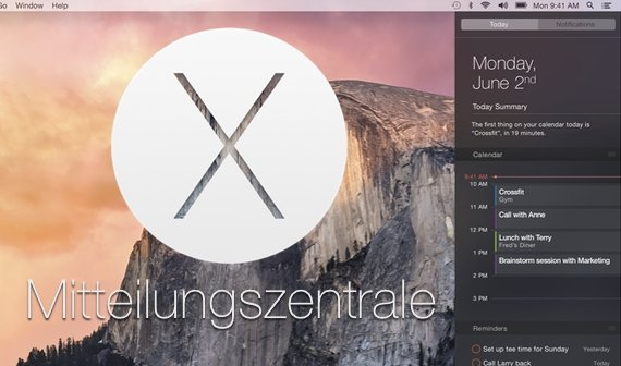 OS X 10.10 Yosemite: Mitteilungszentrale im Detail (Notification Center)