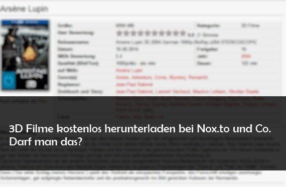 Nox.to: 3D Filme, HD Filme und mehr als Download - ist das legal?