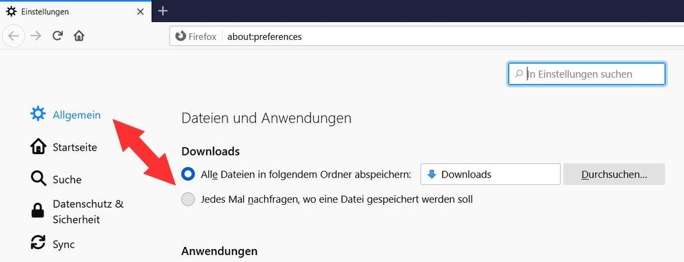 Firefox Download-Ordner 2021
