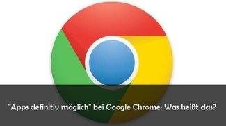 """""""Apps definitiv möglich"""" in der Lesezeichenleiste bei Chrome"""