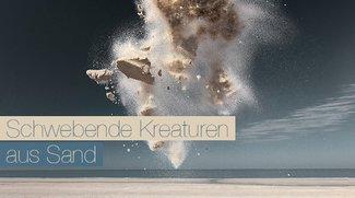 Sandskulpturen die sich in schwebende Kreaturen verwandeln