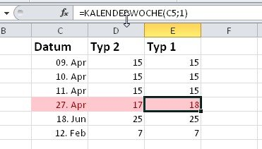 Die korrekte Excel-Kalenderwoche ist vom Wochenanfang abhängig
