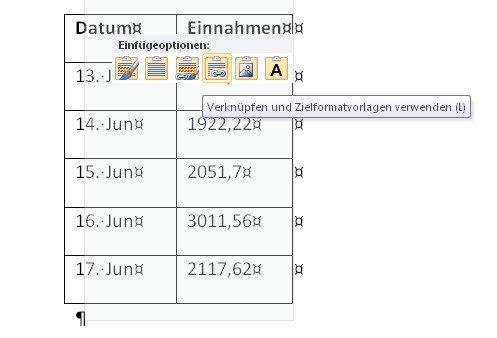 Ihr seht gleich, wie es aussieht, wenn Ihr eine Excel Tabelle in Word einfügt