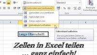 Excel: Zellen teilen – so wird's gemacht
