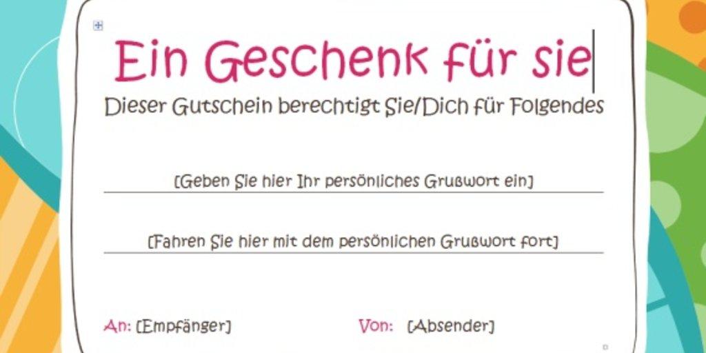Gutschein Vorlage Word Download