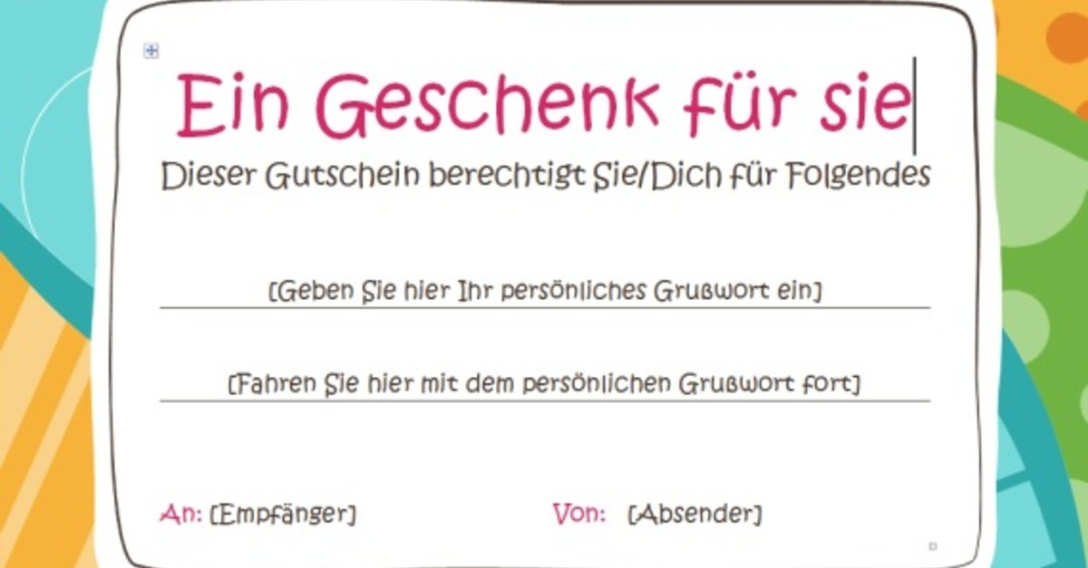 Gutschein Vorlage Word Download – GIGA