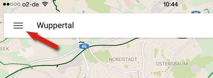 Links obengeht es zum Menü und zu den Einstellungen der Google Maps-App.