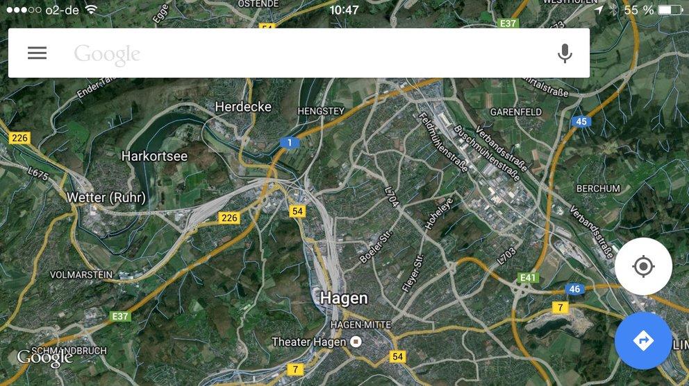 Satellitenansicht von Google Maps auf dem iPhone 6.