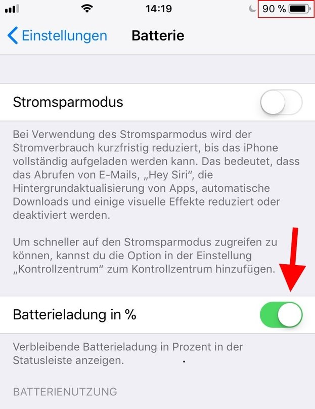 iPhone Batterie Menü