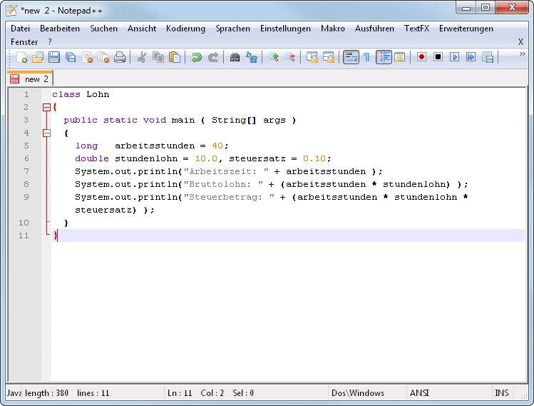 Ein guter Texteditor hilft, wenn man Java programmieren lernen will