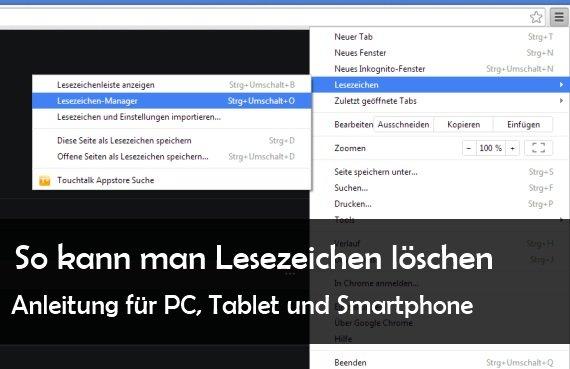 Lesezeichen löschen bei Safari, Firefox, IE, Google Chrome, Android und iPad