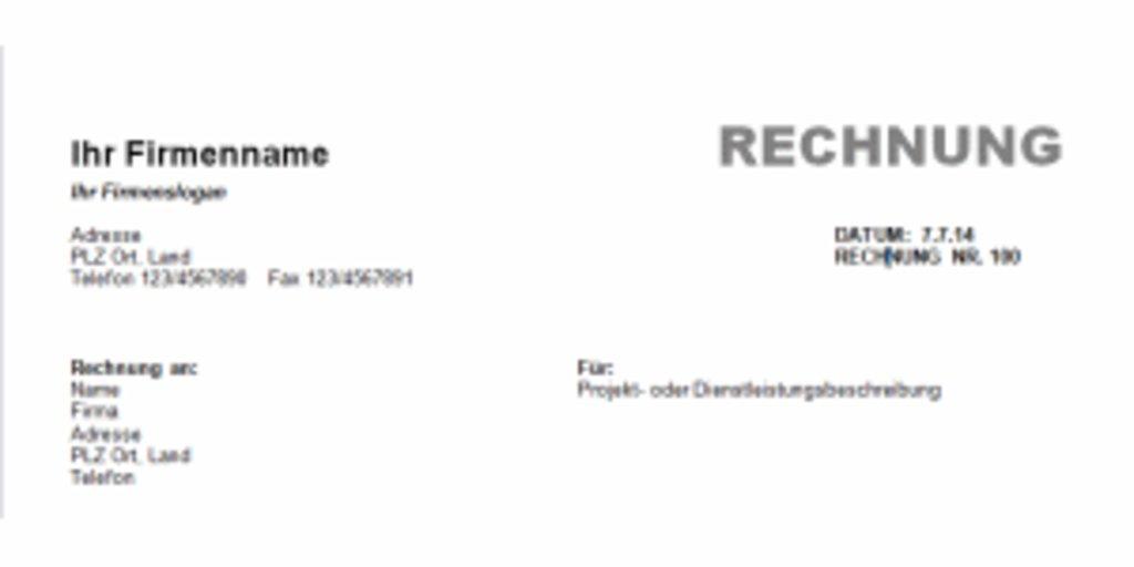 Rechnungsvorlage Word Download Giga