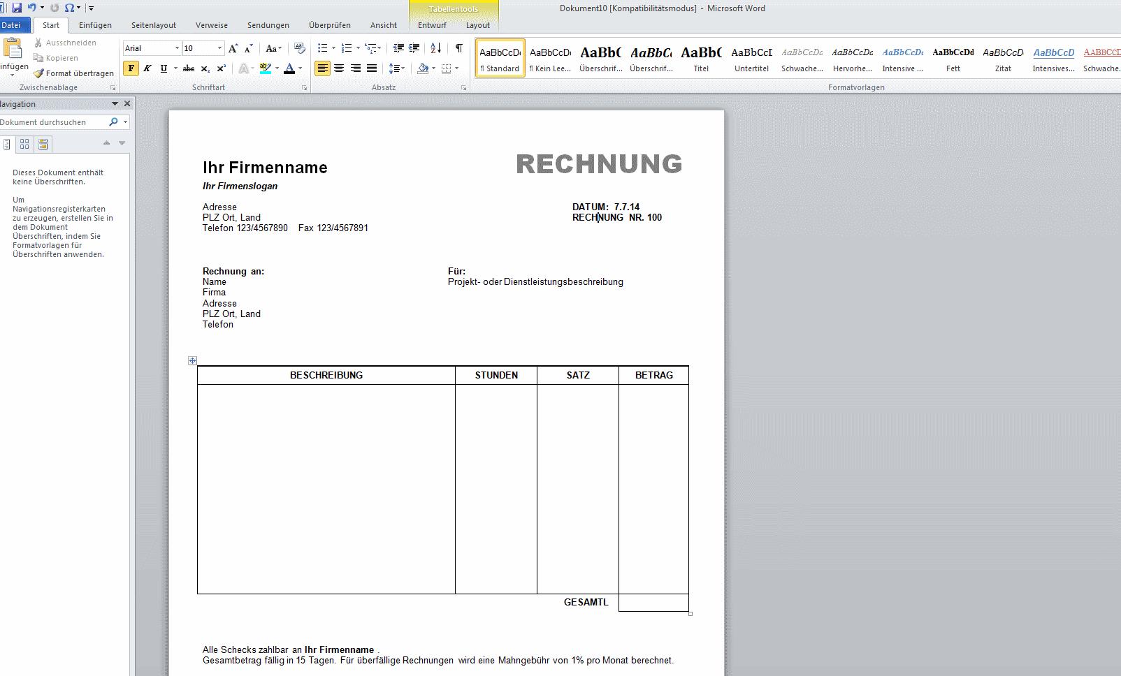 Rechnung Schreiben Vorlage Kostenlos Word