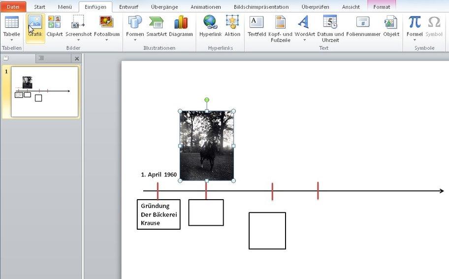 Der Zeitstrahl in PowerPoint besteht auch nur aus Linien, Kästen und Textfeldern