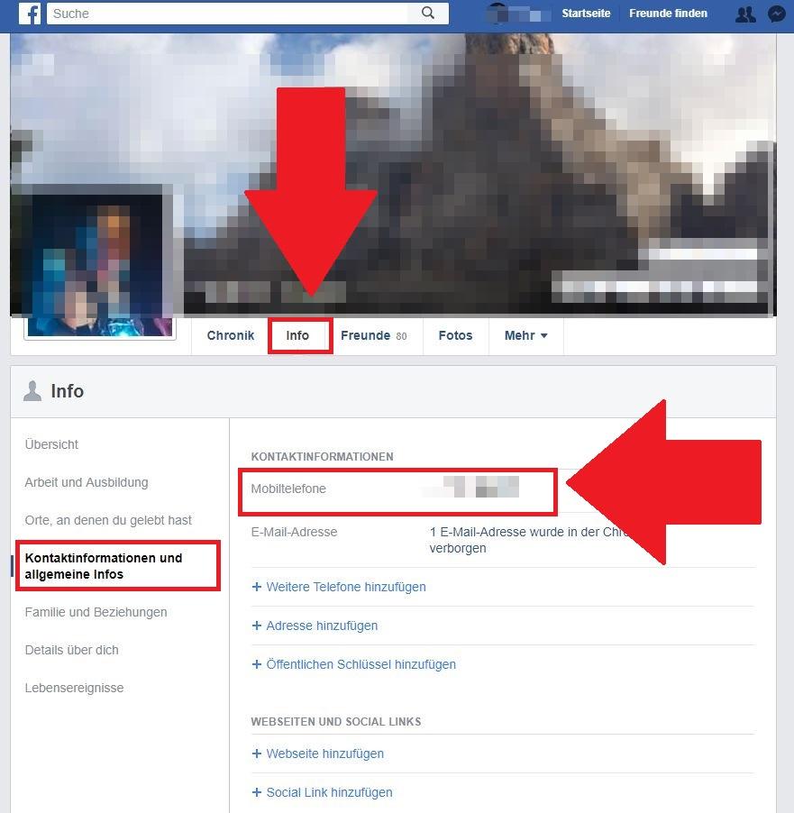 handynummer bei facebook löschen