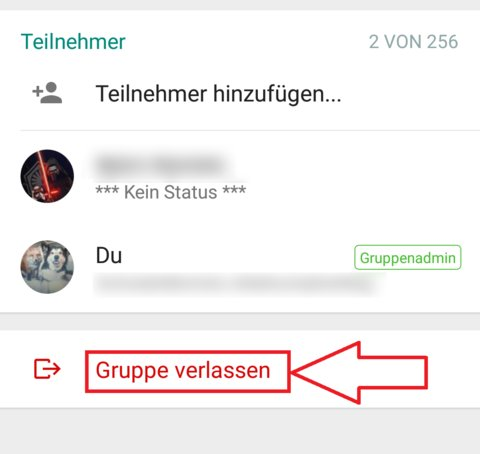 WhatsAp-Gruppe-Administrator-verlassen