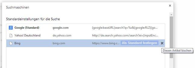Bing: Auch in Chrome hat sich die Suche von Microsoft eingeschlichen