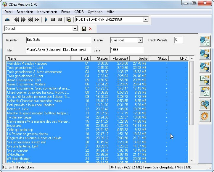 CDex als Audio-CD zu MP3-Umwandler
