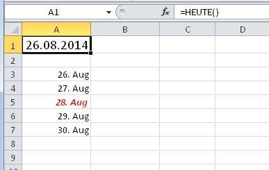 Bedingte Formatierung in Excel: Aktuelles Datum plus 2 Tage