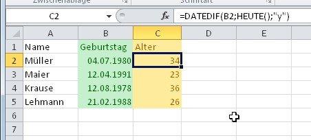 Excel kann das Alter automatisch berechnen