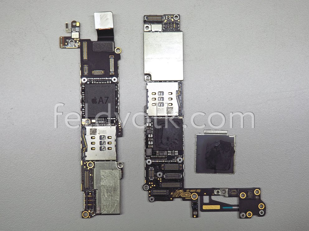 iPhone 5s Logicboard links, iPhone 6 Logicboard rechts