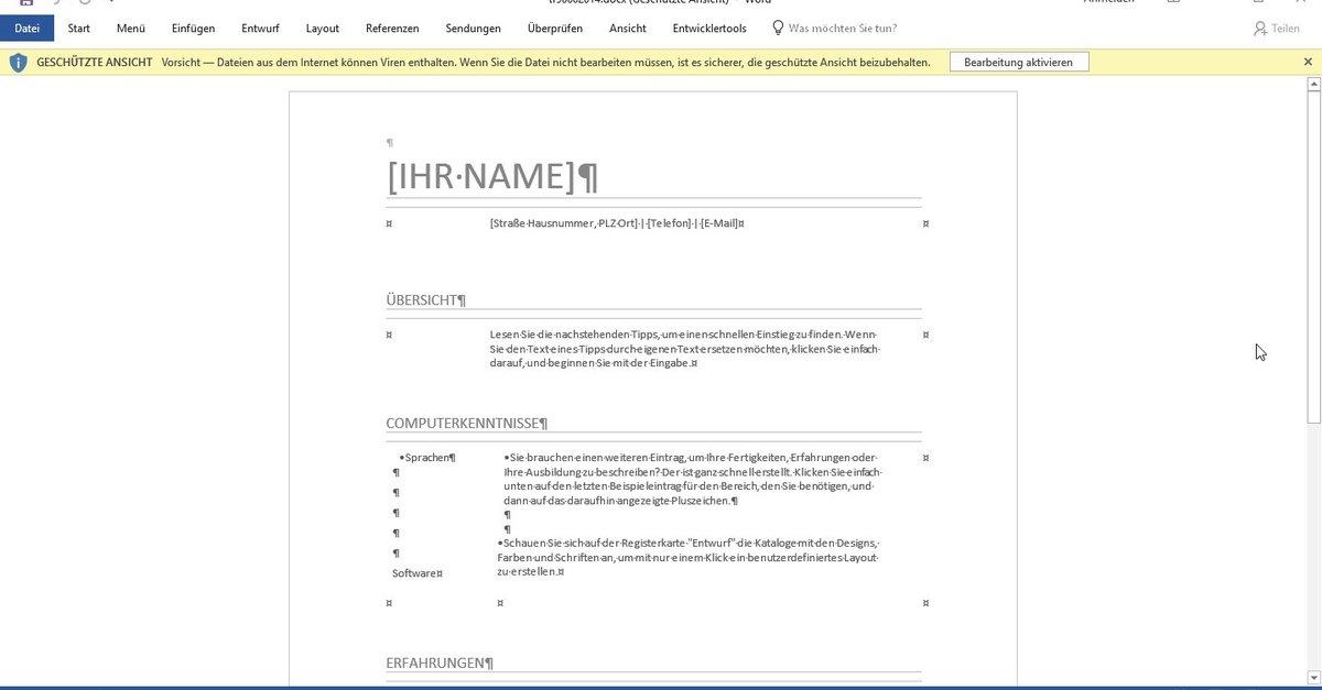 Tabellarischer Lebenslauf für ein Bewerbungsschreiben: Word-Vorlage ...
