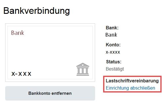 Lastschriftvereinbarung Paypal