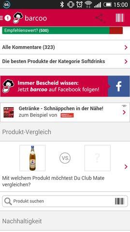 Barcoo wirkt teilweise durch Werbung und zu viele Informationen etwas überladen.