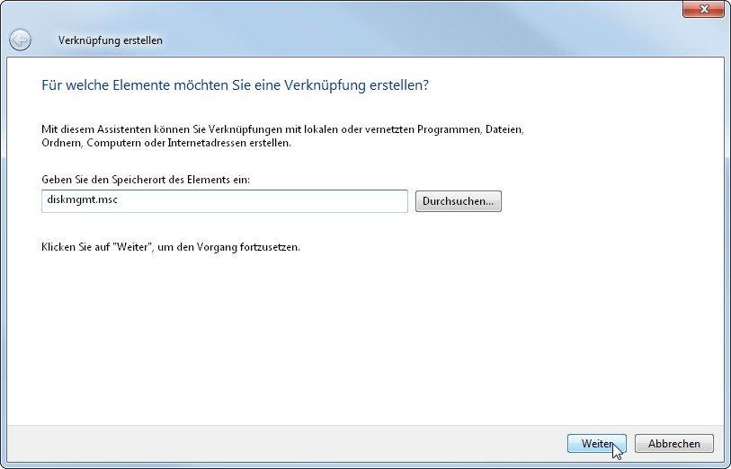 Datenträgerverwaltung Windows 7