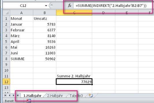 Wir können in Excel indirekt auf ein anderes Blatt verweisen