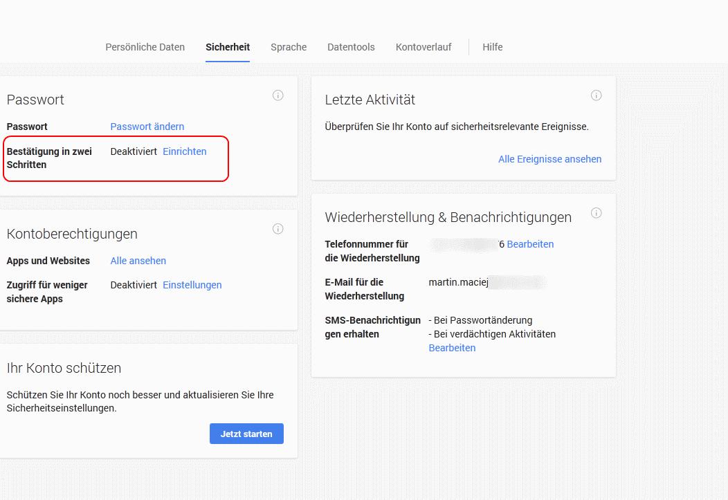 Google Authenticator Einrichten
