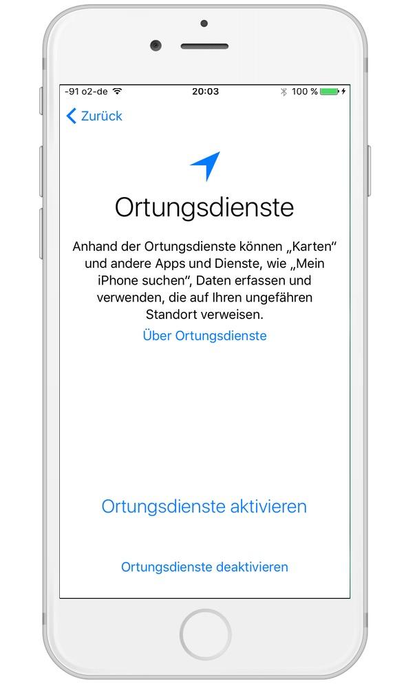 ortung iphone X einschalten
