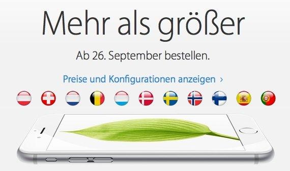 iPhone 6: Verkaufsstart in Österreich, der Schweiz und weiteren Ländern
